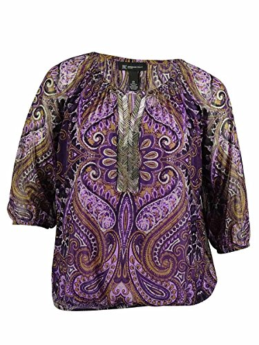 (INC International Concepts Women's Beaded Keyhole Top (0X, Scorpian Paisley) Purple Combo)