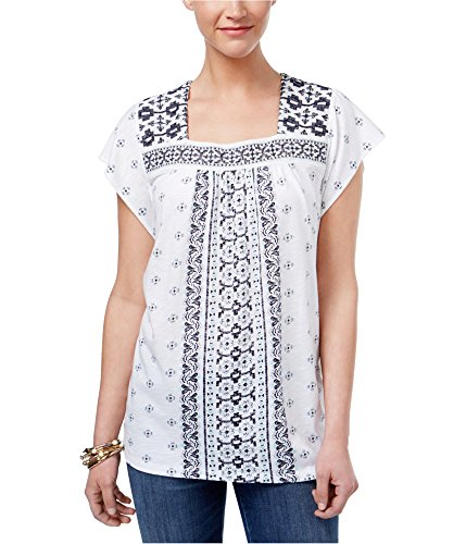 (Style & Co. Womens Printed Short Sleeves Pullover Top White M)