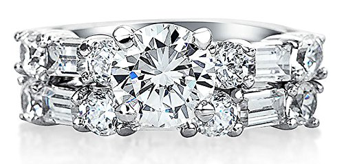 Bling Jewelry Baguette CZ Round Engagement Wedding Ring Set 925 (Baguette Round Jewelry Set)
