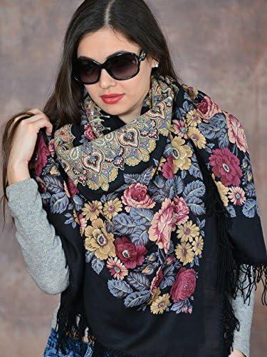 Pavlovo Posad Shawl Prayer 100/% wool with wool fringe 146x146 cm