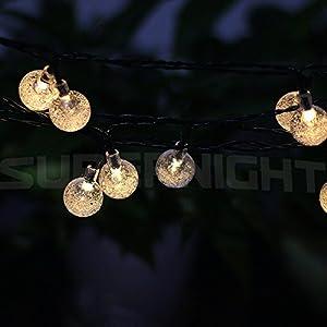 BINZET 20ft 30leds Solar LED String Lights Warm White Crystal Ball LED  Strands Lights For Holiday Festival Seasonal Patio Garden Outdoor LED String  Light