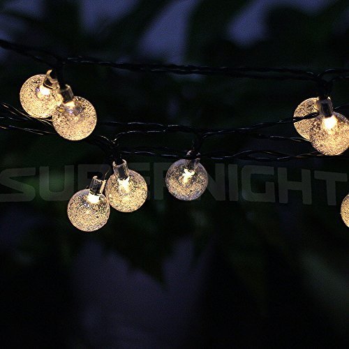 Amazon.com: BINZET 20ft 30leds Solar LED String Lights Warm White Crystal  Ball LED Strands Lights For Holiday Festival Seasonal Patio Garden Outdoor  LED ...
