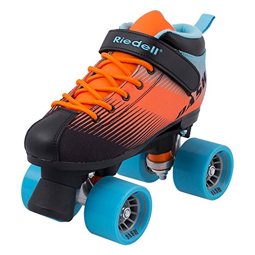 Riedell Skates - Dash - Indoor Quad Roller Skate for Kids | Aqua & Orange | Size 4 | ()