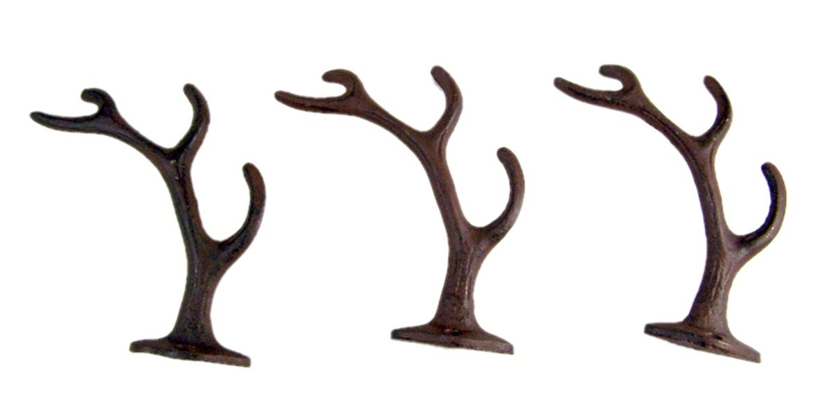 Rustic 4-Point Deer Antler Cast Iron Wall Hook 5.6 Inch (Set of 3)