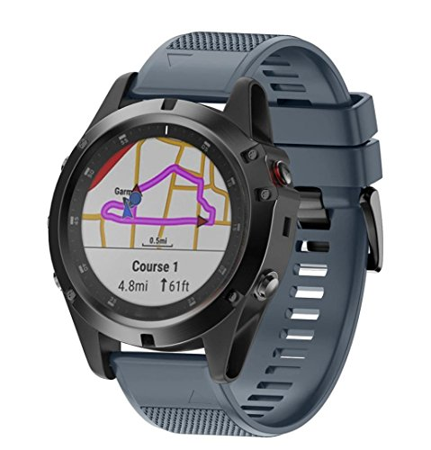 - YJYdada Replacement Silicone Quick Release Easy Fit Wirstband for Garmin Fenix 5X Plus (Navy)