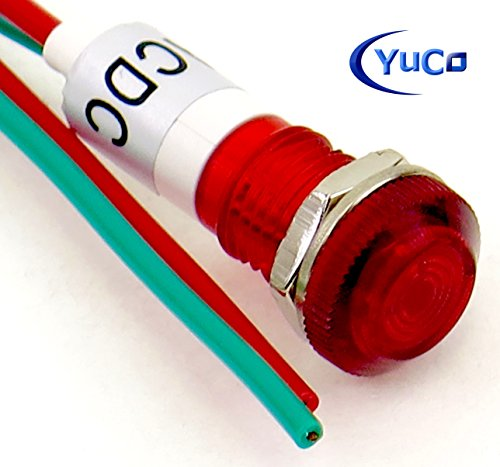 PACK OF 10 YuCo YC-9WRT-23R-220-10 RED LED 9MM MINIATURE INDICATOR PILOT LIGHT 220V AC/DC by Yuco (Image #3)