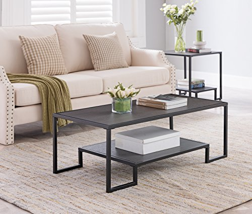 Grey Finish / Black Metal Frame Cocktail Coffee Table with Bottom Shelf 44″W