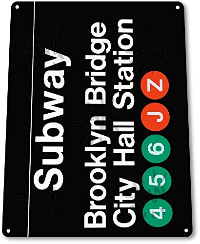 "TIN SIGN ""Subway Brooklyn Bridge"" City Hall Station Metal New York Store - Downtown Store Brooklyn"