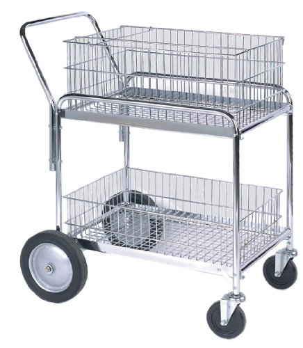Wesco Industrial Products 272230 Deluxe Compact Wire Office Cart, 200-lb. Load Capacity, 33.5'' L x 23.75'' W x 38.25'' H by Wesco