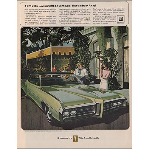 RelicPaper 1969 Pontiac Bonneville: 428 V8 is Now Standard, Pontiac Print Ad
