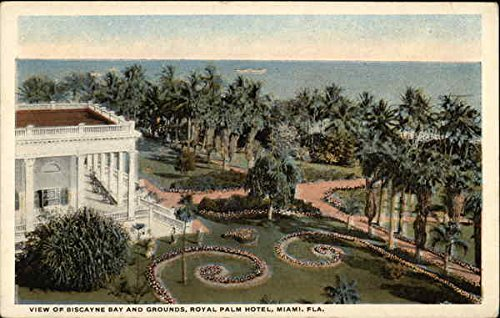 View of Biscayne Bay and Grounds, Royal Palm Hotel Miami, Florida Original Vintage Postcard