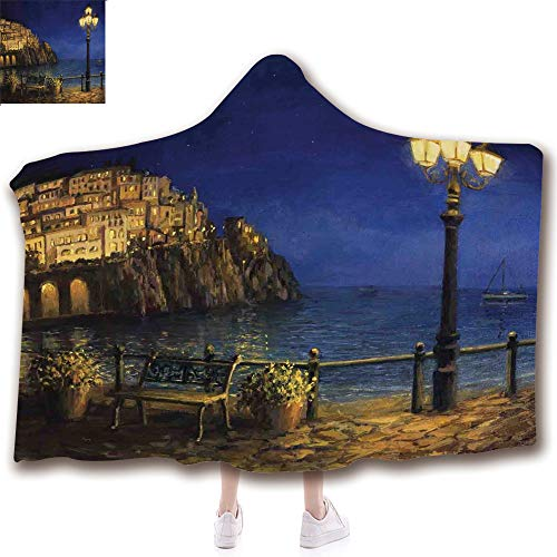 Amalfi Sofa (Fashion Blanket Ancient China Decorations Blanket Wearable Hooded Blanket,Unisex Swaddle Blankets for Babies Newborn by,Evening at the Coast of Amalfi in Italy Oil Painting,Adult Style Children Style)