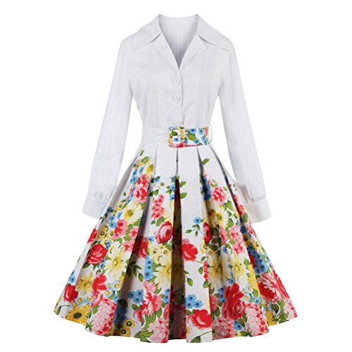 Ghope Weiß Blume 50s Retro vintage Kleid Audrey Hepburn Rockabilly Swing Partykleid CocktailKleid