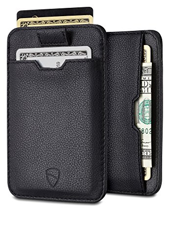 Fuze Clip - Chelsea Slim Card Sleeve Men's Wallet with RFID Protection by Vaultskin - Top Quality Italian Leather - Ultra Thin Card Holder Design For Up To 10 Cards (Black)