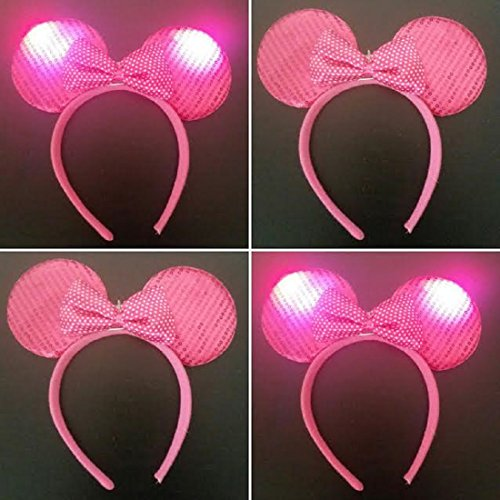 Light Up LED Flashing Mouse Head Ears Headband Costume (Dk Pink Sequin)