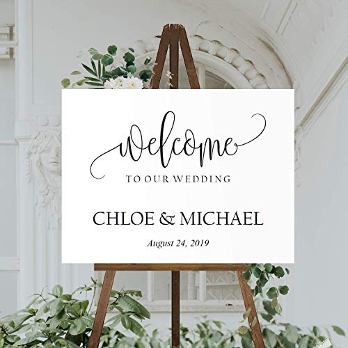 FabricMCC Personalized Welcome to Our Wedding Sign,Rustic Welcome Wedding Sign Custom Party Entrance Wedding Welcome Sign Gift for Couple (24
