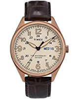 Timex Men's Waterbury Traditional Day Date 42mm Leather Strap Watch, Gold Tone/Brown (200VQ), One Size