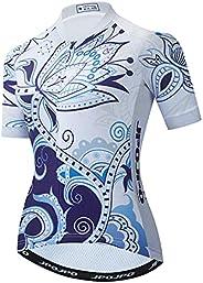 JPOJPO Women's Cycling Jersey Short Sleeve MTB Bike Clothing Reflective 3-Pockets S