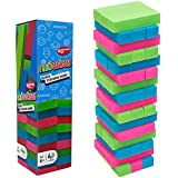 NEOWOWS Stacking Board Games Wooden Building Blocks Tower Camping and Lawn Games for Kids 48 Pieces (Multicolor)