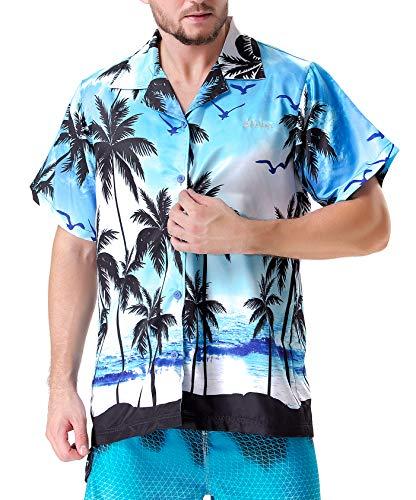 - Clothin Men's Hawaiian Shorts Sleeve Shirts(Blue2 S)