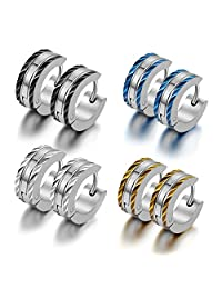 Cupimatch Stainless Steel Men Unique Two Tone Small Clip Hinged Hoop Earring Gift Set of 4 Pairs