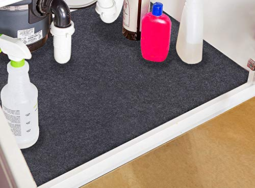 Under The Sink Mat,Cabinet Mat - Absorbent/Waterproof - Protects Cabinets, Premium Shelf Liner, Contains Liquids,Washable(24in x 36in) (24×36)