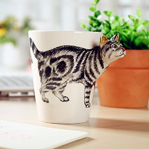SSBY Three-dimensional animal cup, hand draw mugs, personality ceramic coffee cup, creative 3 d office cup lovely cup,Tabby cat