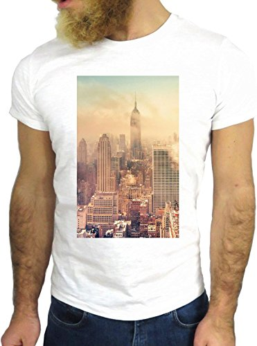 T SHIRT JODE Z1870 NEW YORK FOGGY SKYLINE AMERICA USA FUN COOL FASHION NICE GGG24 BIANCA - WHITE S