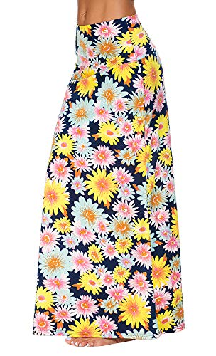 Urban CoCo Women's Stylish Spandex Comfy Fold-Over Flare Long Maxi Skirt (S, 3)