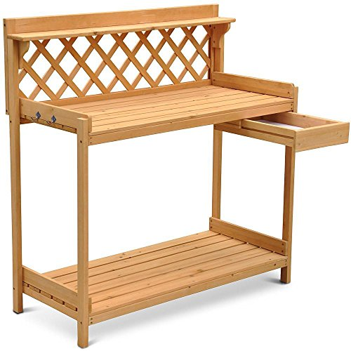 go2buy Wood Potting Bench Outdoor Garden Planting Work Station Table Stand Natural Finish (Outdoor Amart Furniture)