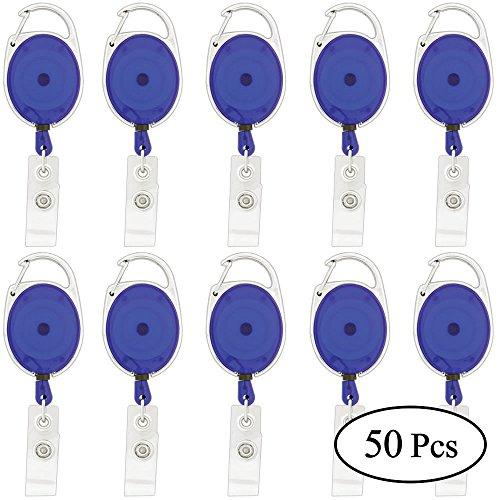 (AStorePlus 50 Pcs Ellipse Blue Translucent Retractable Badge Reels with Belt Clip for Keys, ID Badge Holder, Key Cards, Key Clip Holder)