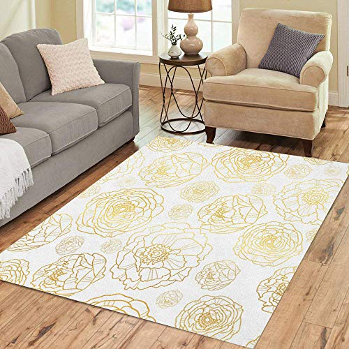 Pinbeam Area Rug Golden on White Peony Flowers Summer Great Home Decor Floor Rug 2' x 3' Carpet
