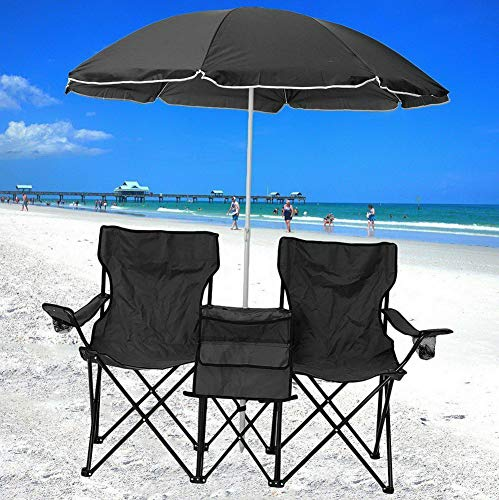 Kaputar Chair Set Double Folding Umbrella Table with Cooler Picnic Camping Beach Seat US   Model CMPNGCHR - 504   ()
