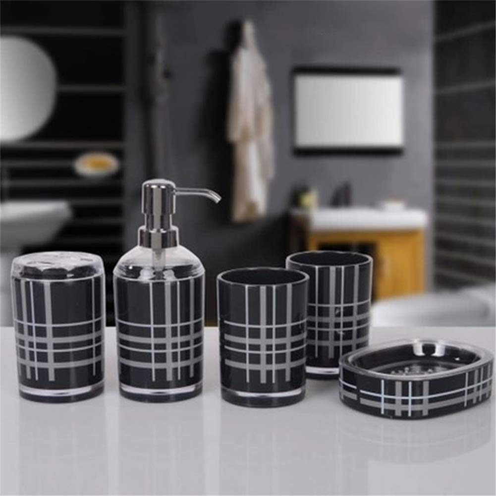 Black Wandofo Acrylic 5 Piece Bathroom Accessory Set Soap Dispenser Bottle Soap Dish Cup Toothbrush Holder Case Caddy
