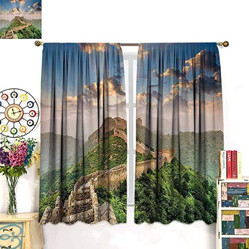 NineHuihome Rod Pocket Window Curtain Drape Decor Curtains for Living Room/Bedroom Oriental Medieval Blockade High Lands Old Wders The Past - Blockade Rod Curtain