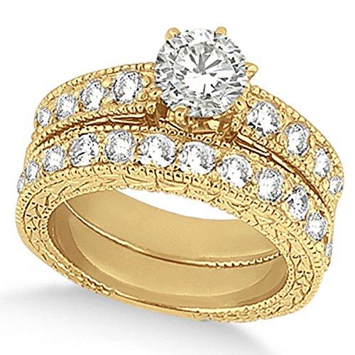 Women's Preset Antique Design Heirloom Round Diamond Bridal Set in 18k Yellow Gold (4.41 carat) ()