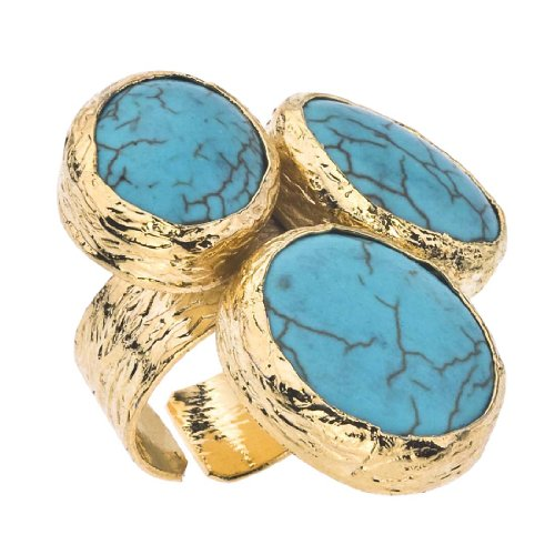 18k Plate Vermeil Gold (18K Gold Plate & Turquoise Floating Ring)