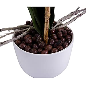 BeautiLife Blooming Orchid Artificial Flower Arrangements Blooming Flower Bonsai Rockery Series in vase for Home Wedding Party Office Dcoration 5