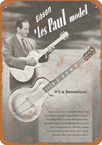 (Jacksoney Tin Sign New Aluminum 1952 Gibson Les Paul Introduction 11.8 x 7.8 Inch )