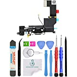 OmniRepairs Charging USB Dock Port Flex Cable Replacement with Microphone, Headphone Audio Jack Assembly Compatible for iPhone 5s Model with Repair Toolkit (Black)