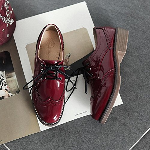 KemeKiss Ankle Wine Girl Red British Women Shoes Style Strap Pumps School Fashion 6R6pCnwq