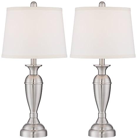 Blair brushed steel metal table lamp set of 2