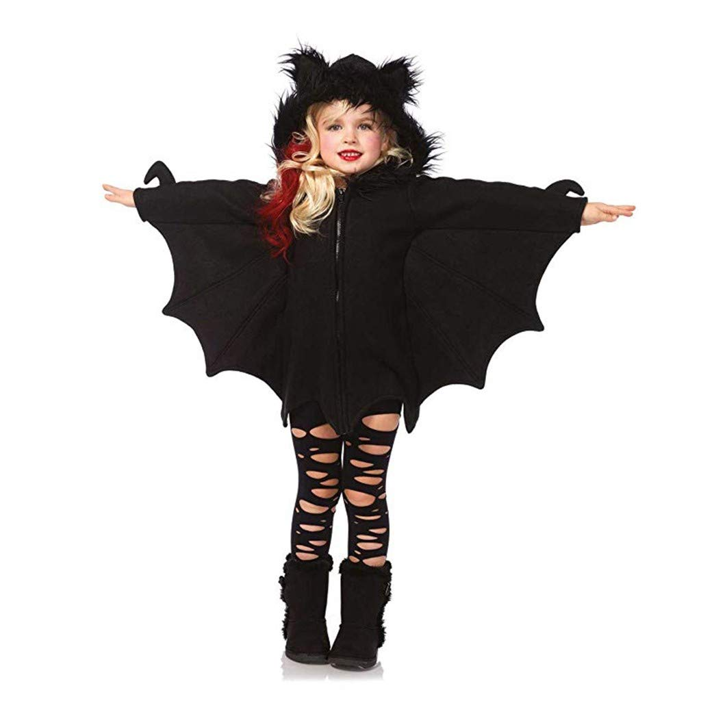 Halloween Bat Cloak/Cape Hood Zipper Halloween Cosplay Coat with Ear for Toddler Baby Girl (5-6T, Black) by sweetnice baby clothing