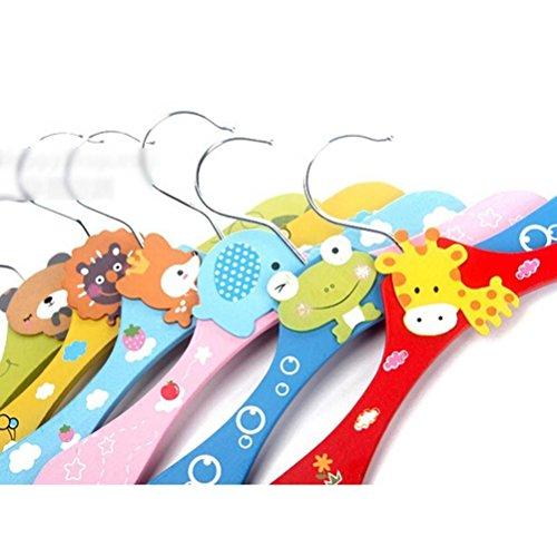 Foxnovo 5pcs Kids Children Wooden Coat Pants Hangers -Random Pattern