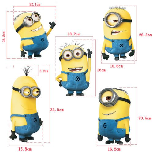 Minions 3D Wall Stickers Kid's Bedroom Cute Mural Decals Home Decor (Religious Tattos)