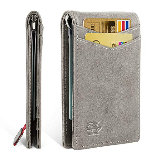 Minimalist Slim Bifold Front Pocket Wallet with Money Clip for men,Durable&Humane Advanced Leather&Effective RFID Blocking (Men For Compact Wallets)