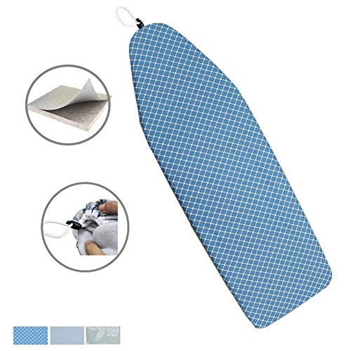 Duwee 15x54 Deluxe Heat Resistant Ironing Board Cover Thicken Felt Padding,Unique Tightening Mechanism Elastic Cord (Blue ()