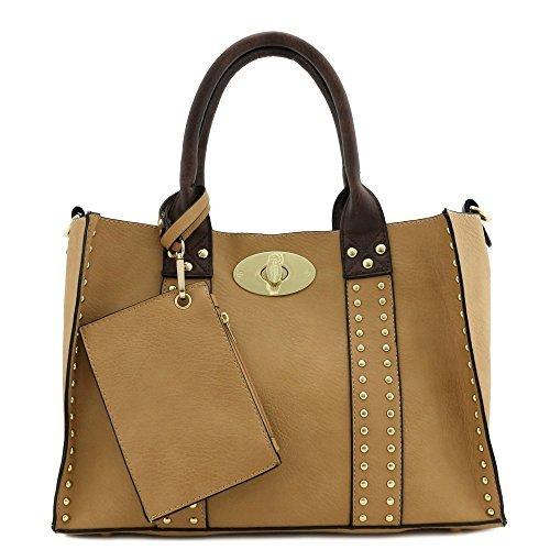 (3pc Set Studded Turn Lock Tote Bag with Crossbody (Tan))