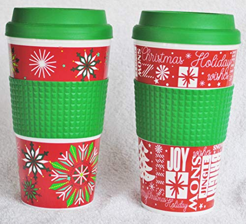 2 Pack Christmas Coffee Travel Mugs Screw-top Sipping Lids Silicone Heat-proof Rings for Hot or Cold Drinks (Snowflakes and Santas)