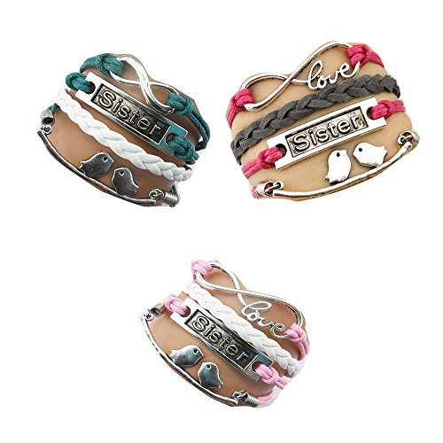 Ac Union ACUNIONTM Twinkle Handmade Sister Kiss Birds Charms Friendship Gift - Braid Personalized Suede Leather Bracelet